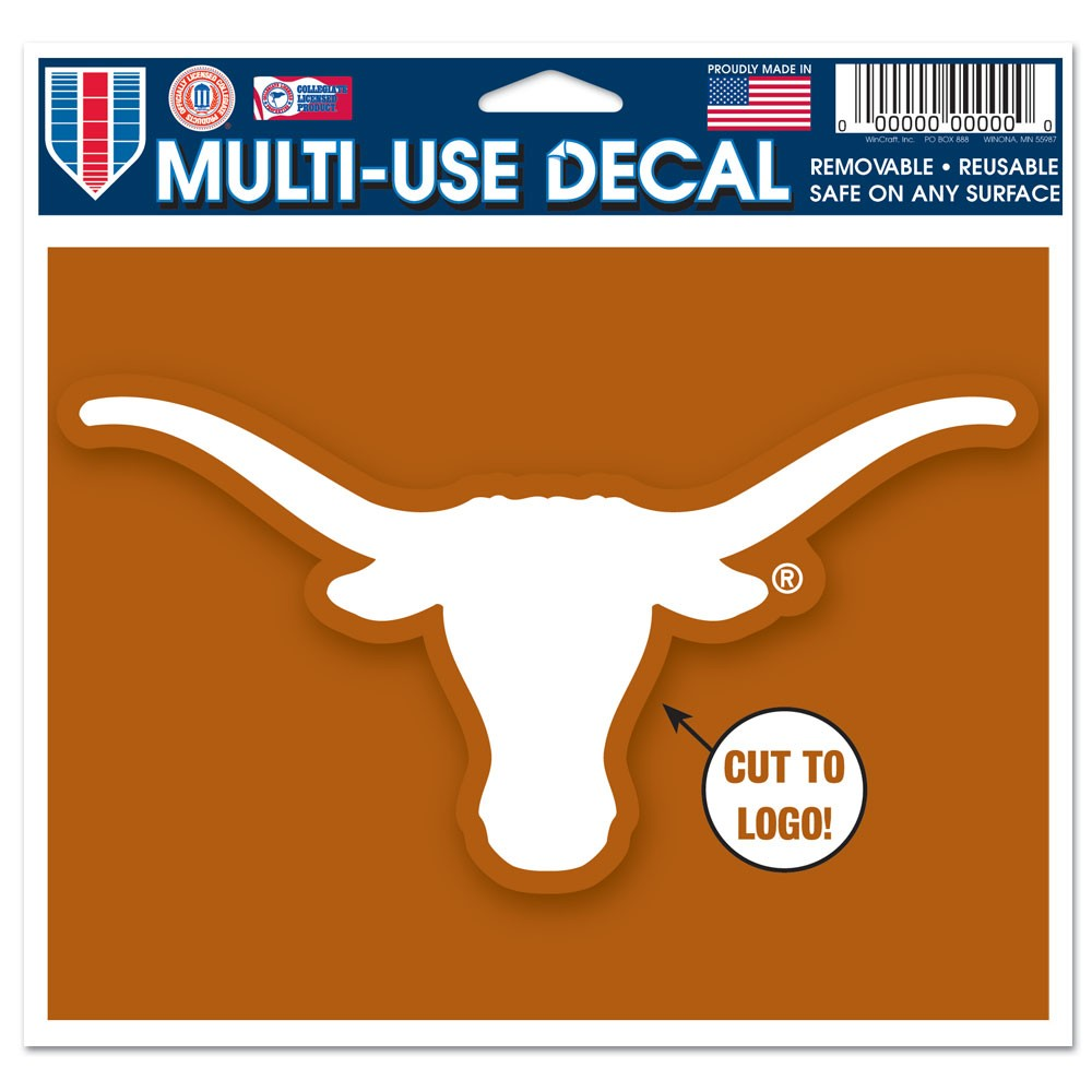 Texas Longhorns Official NCAA 4.5 inch  x 5.75 inch  MultiUse Car Decal by WinCraft