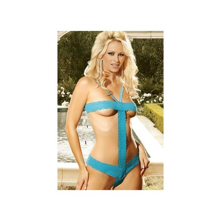 Elegant Moments Stretch Lace Thong Back Teddy 7927 Blue