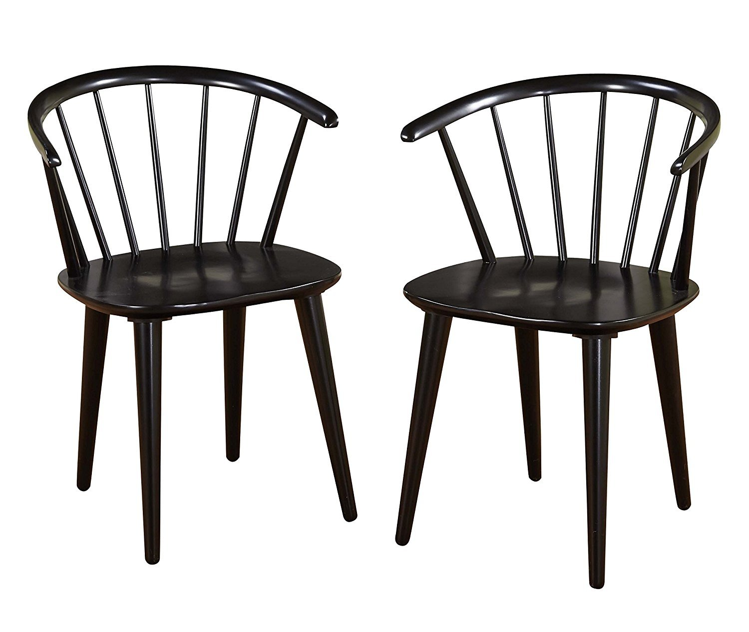 Target Marketing Systems Set Of 2 Florence Dining Chairs With Low Windsor  Spindle Back, Set Of 2, Black   Walmart.com