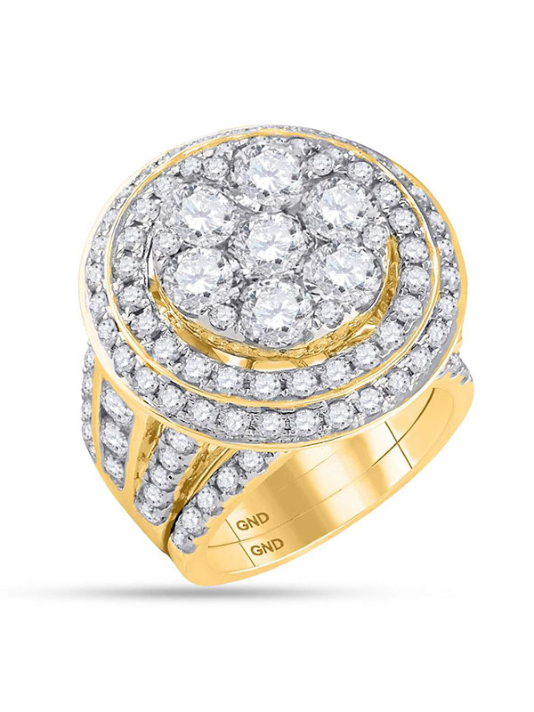 14kt Yellow Gold Womens Round Diamond Cluster Bridal Wedding Engagement Ring Band Set 7.00 Cttw by GND