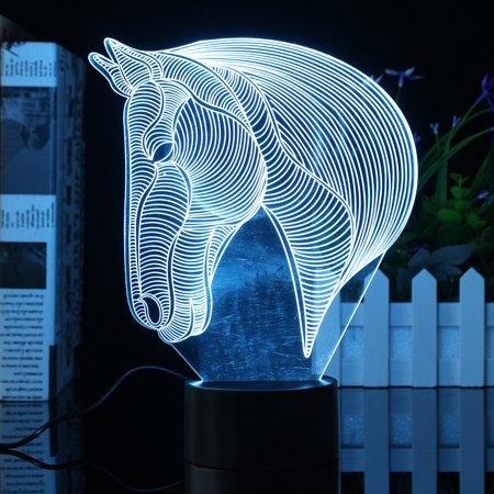 3D Acrylic LED Night Light Horse Head Desk Table Lamp Led Lamps 7 Color Change Bedroom Home Decor Christmas Gifts - image 7 of 9