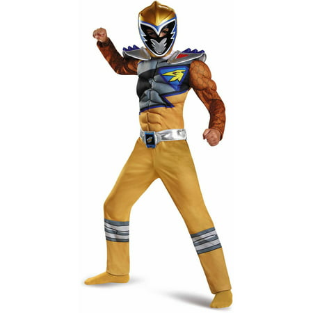 Gold Power Ranger Dino Charge Classic Muscle Child Halloween - Power Rangers Costume For Adults