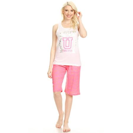 13399B Womens Bermuda Set Sleepwear Pajamas Woman Sleeveless Sleep Nightshirt White L Cotton Sleeveless Capri Pajama