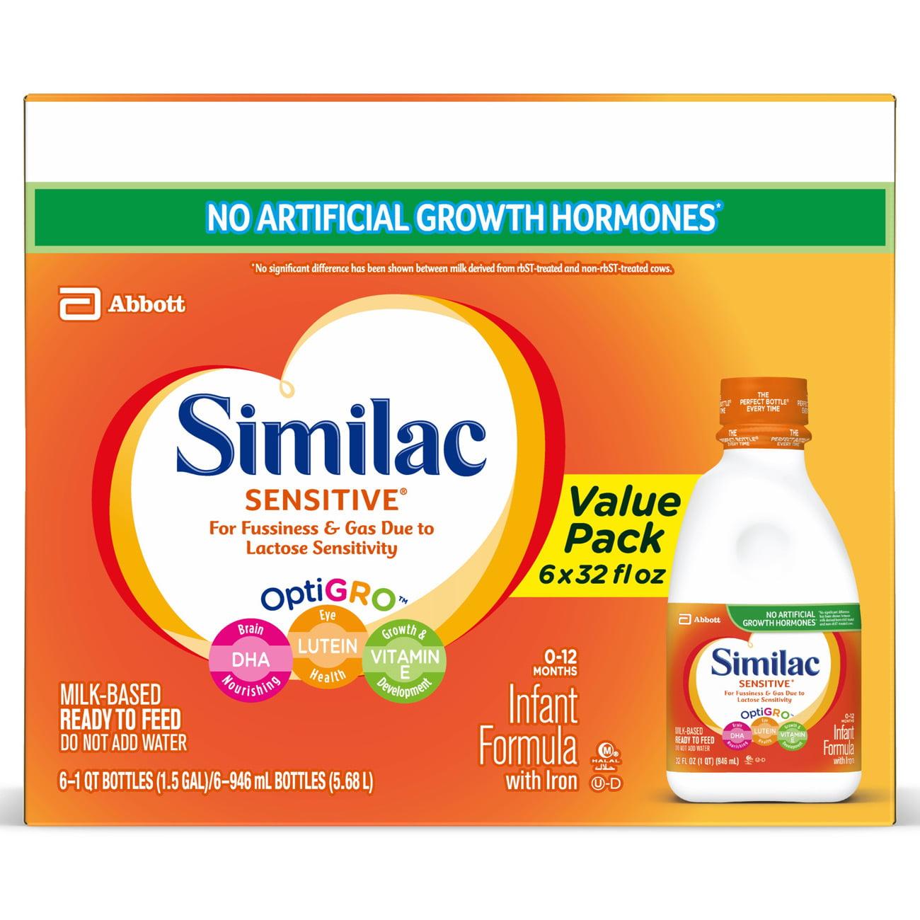 Similac Sensitive Infant Formula (6 Bottles) Ready to Feed, 1 qt, w/ Iron