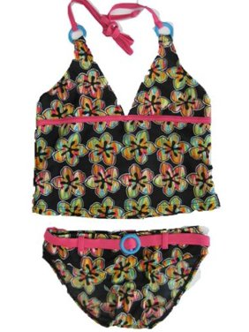 72057b8f9f6c1 Product Image 2B Real Little Girls Black Pink Rainbow Flower 2Pc Tankini  Swimsuit 4-6X