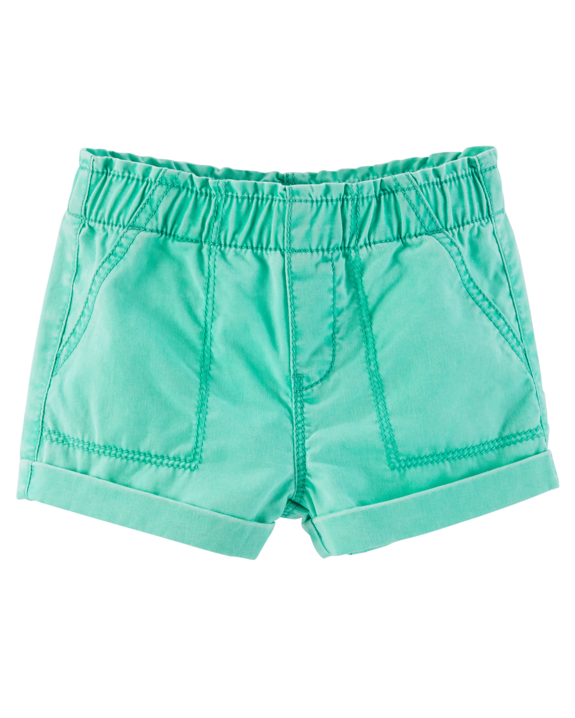 OshKosh B'gosh Baby Girls' Pull-On Twill Shorts, 12 Months