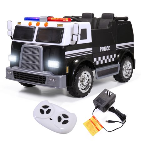 - Jaxpety 12V Ride On Vehicle Battery Power Police Car w/ Remote Control LED Light MP3 2 Speeds