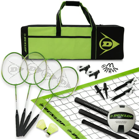 Dunlop Volleyball and Badminton Lawn Game: 11- Piece Outdoor Backyard Party Set with Carrying Case, black/green