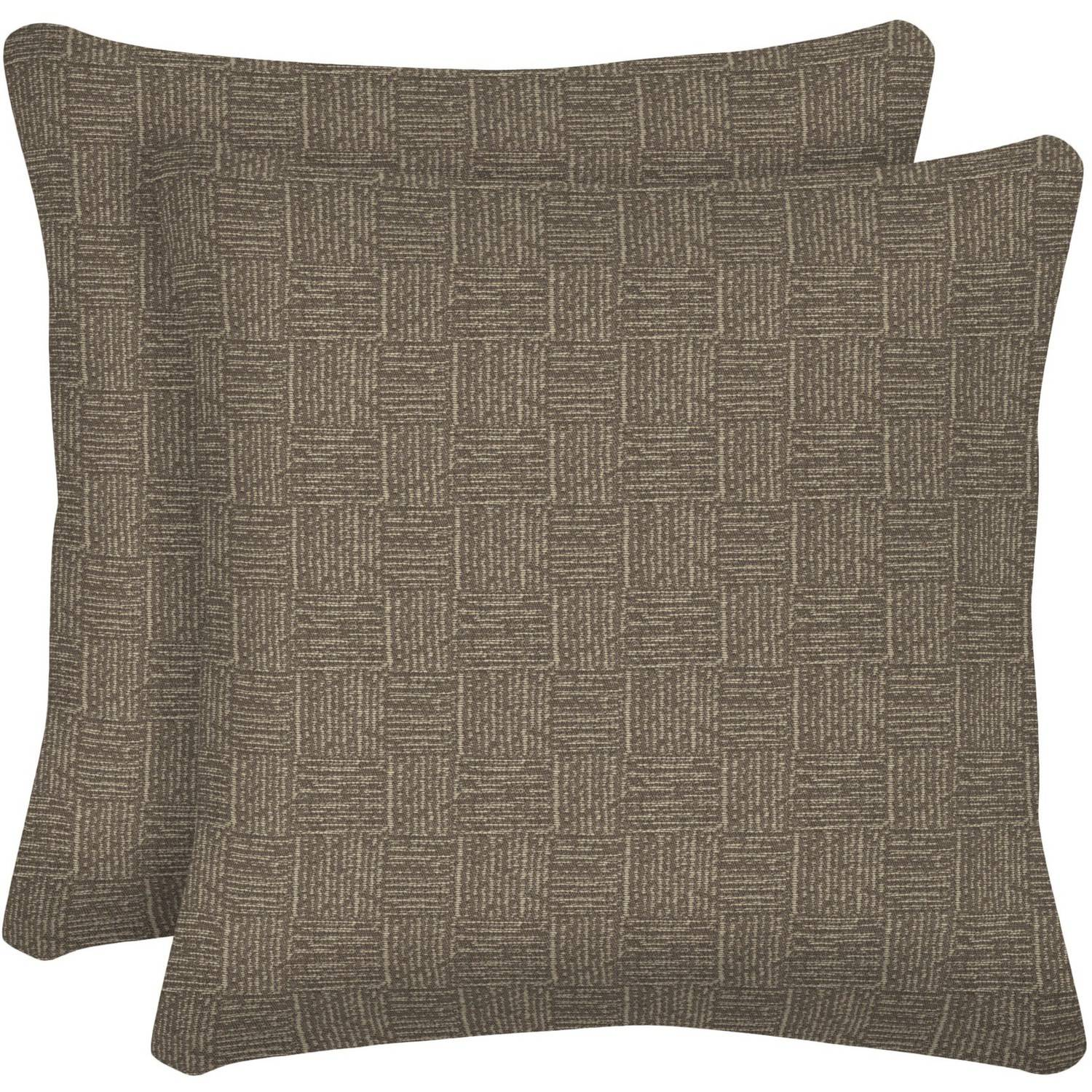 "Arden Outdoors 16"" Square Toss Pillow, Set of 2, Brown Woven"