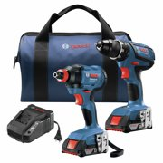 Factory-Reconditioned Bosch GXL18V-232B22-RT 18V Compact Tough Lithium-Ion 1/2 in. Cordless Drill Driver / 1/4 in. and 1/2 in. 2-in-1 Bit/Socket Cordless Impact Driver Combo Kit (2 Ah) (Refurbished)