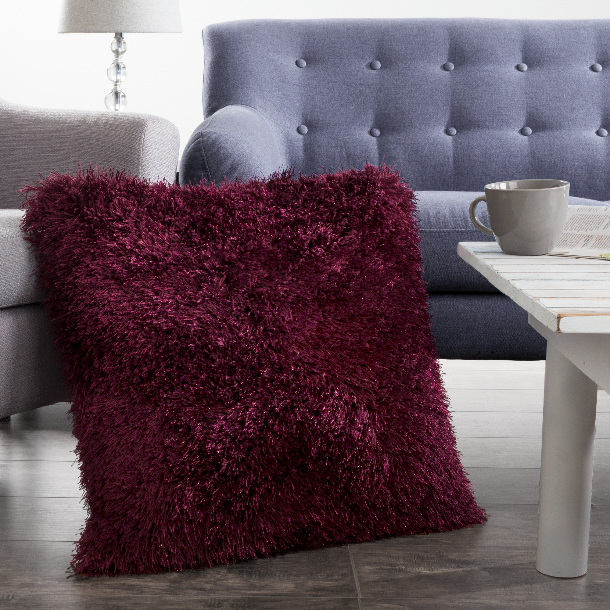 "Shag Floor Pillow, 24"" x 24"" Square Burgundy Pillow by Somerset Home"