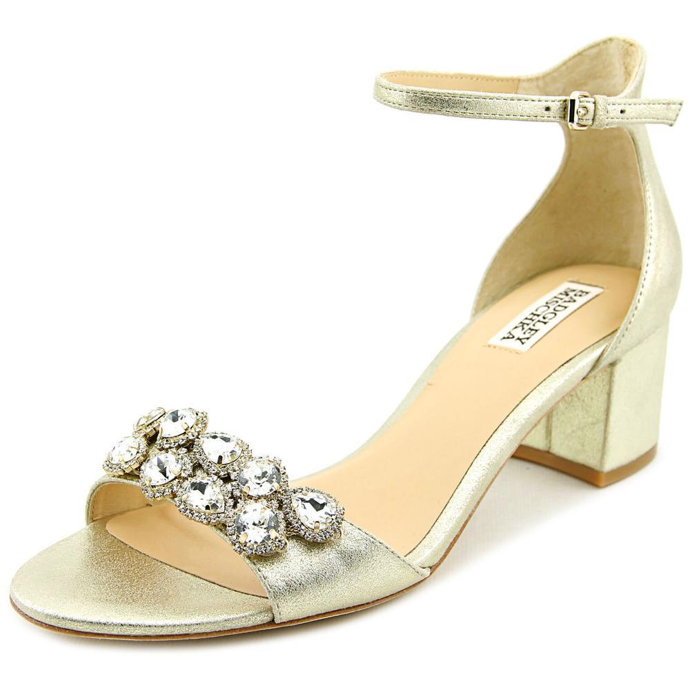 Badgley Mischka Clove Women Open Toe Leather Gold Sandals by Badgley Mischka