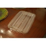 Clear Plastic Serving Platter 16 in x 10.5 in Set of Three