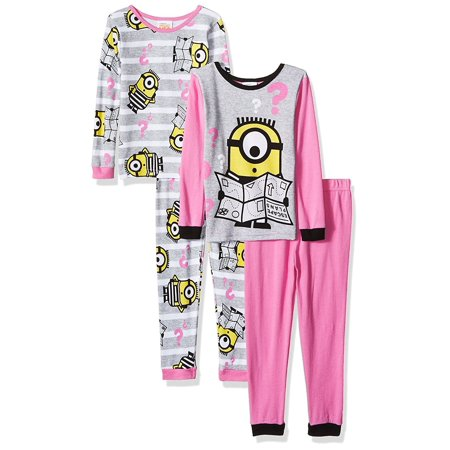 Despicable Me Girls' 4-Piece Cotton Pajama Set