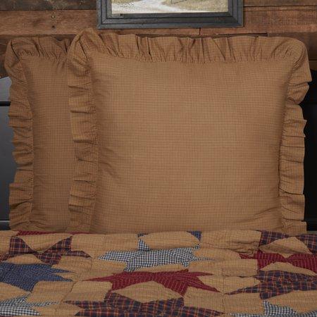 Golden Tan Primitive Bedding Kindred Star Cotton Plaid Square Euro Sham Tan Euro Sham