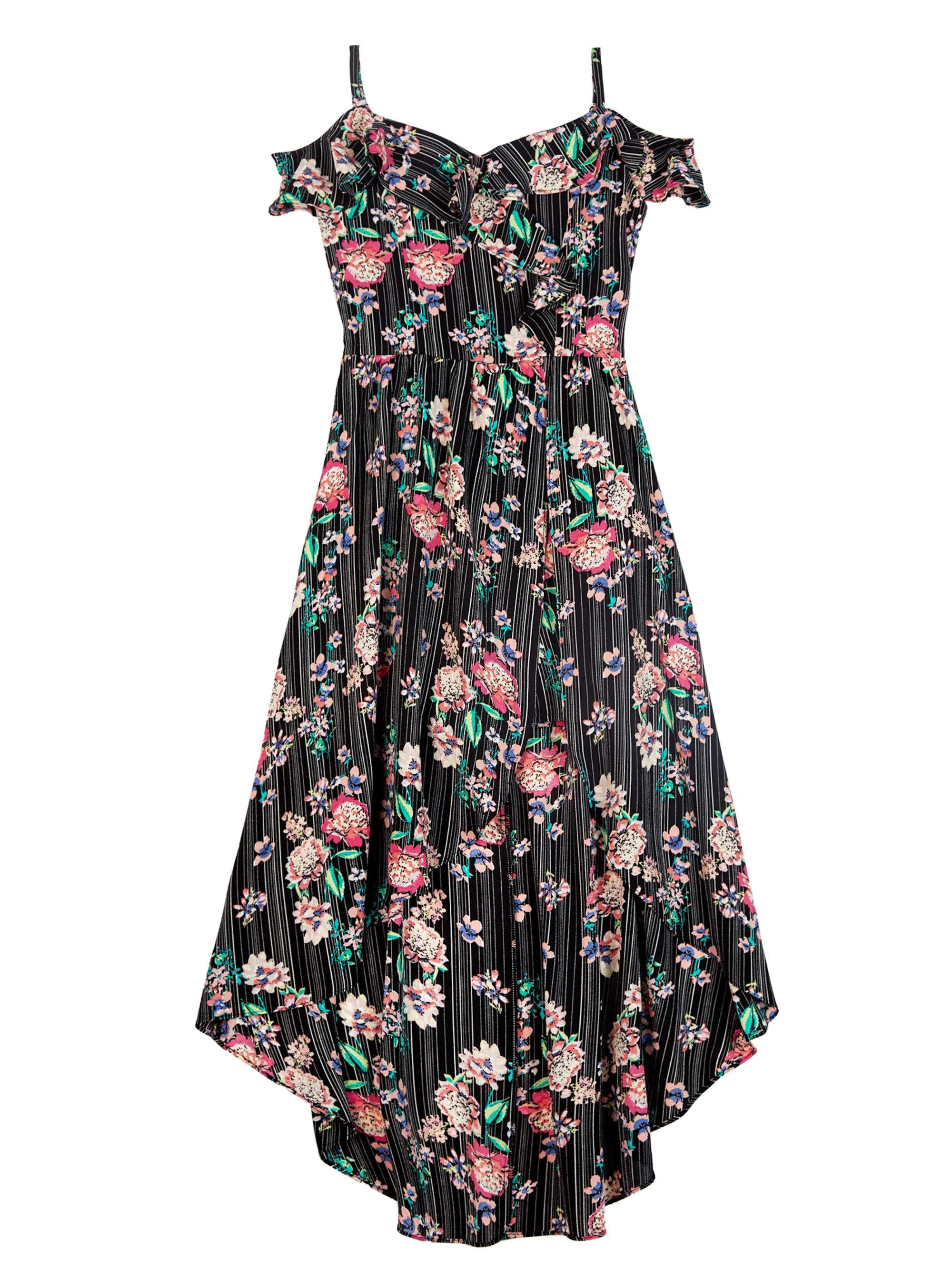 Floral Asymmetrical Cold Shoulder Walk-Thru Maxi Dress with Necklace (Big Girls)