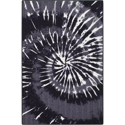 Your Zone Tie-Dye Printed Nylon Rug, Black