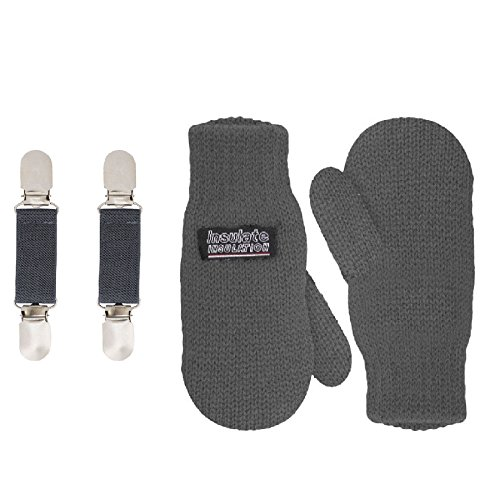 SANREMO Unisex Kids Toddler Knitted Fleece Lined Warm Winter Mittens and Mitten Clips Set (4-7 Years, Grey)