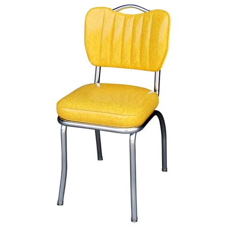Richardson Seating Corp 4260CIY 4260 Handle Back Diner Chair -Cracked Ice Yellow- with Single Tone Channel Back and 2 in. Box Seat  - (Harrington Richardson 20 Gauge Single Shot Shotgun)
