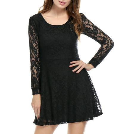 2ef55192b799 Allegra K Women Scoop Neck Long Sleeves Lace Mini Skater Dress Blue XL -  image 1 ...