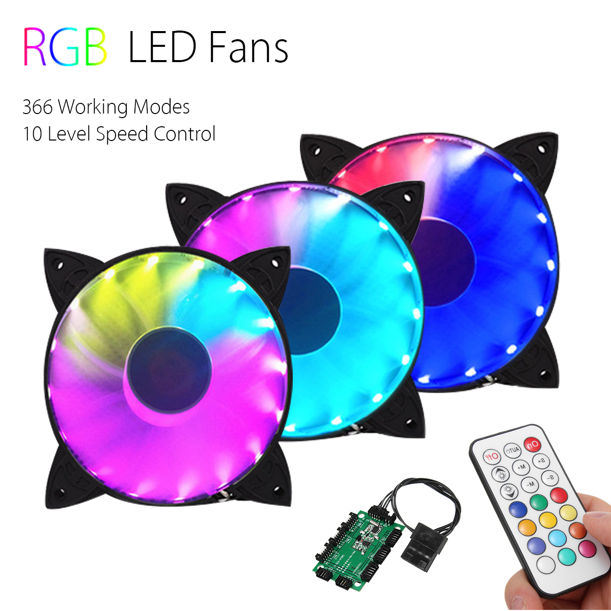 3PCS RGB Adjustable LED Cooling Fan 120mm with Remote Control + Controller For Computer PC
