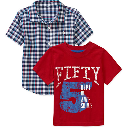 Healthtex Baby Boys' 2 Piece Woven Shirt and Tee Shirt Set