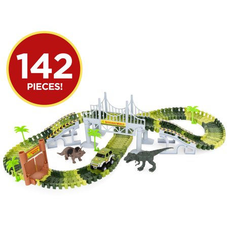 Best Choice Products 142-Piece Kids Toddlers Big Robot Dinosaur Figure Racetrack Toy Playset w/ Battery Operated Car, 2 Dinosaurs, Flexible Tracks, Bridge - Green - Green Dinosaur