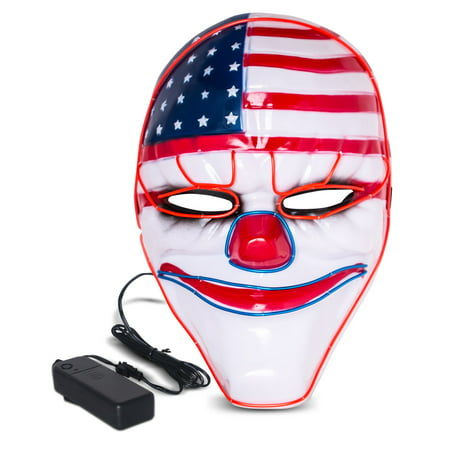 Halloween LED Mask Purge Masks with Lighten EL Wires Scary Light Up Cosplay Costume Mask Battery-operated Glowing Creepy Mask Flag