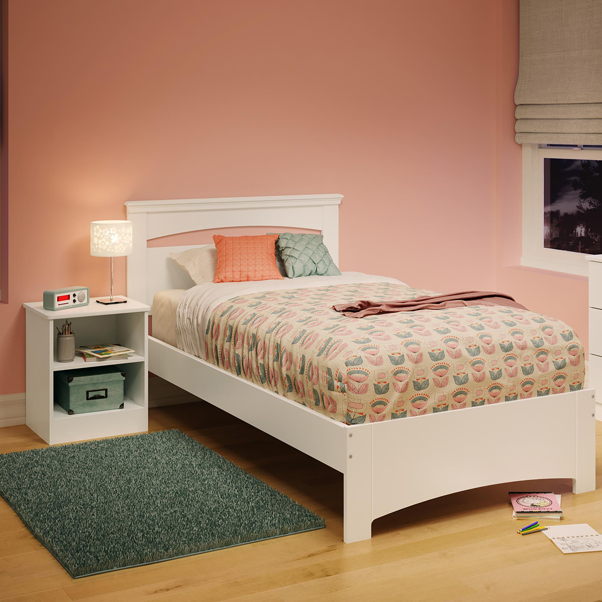 Bed Set With Nightstand-Finish:Pure White,Style:Contemporary