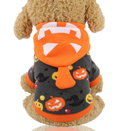 Cute Puppies Dressed Up For Halloween (AkoaDa 1 Pcs Halloween Pumpkin Spider Bat Wings Costume for Pets Dogs Cats Puppy Animal Cosplay Apparel Clothes Pets Dress up Hoodie Coat for Small Medium Dogs/Kitten)