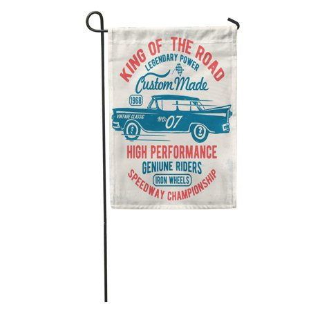 LADDKE Racer Vintage Sport Racing Car Graphics Speed American Auto Boy Garden Flag Decorative Flag House Banner 12x18 inch - Racecar Flag