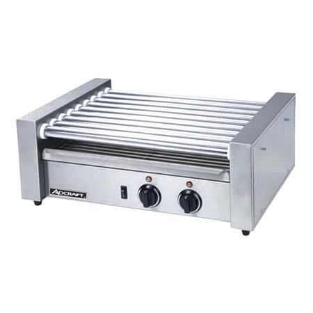 "AdCraft  Countertop Roller Grill , 15.25"" Depth x 8"" Height x 22.5"" Width, 750 W, 304 Stainless Steel 