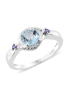 Statement Ring 925 Sterling Silver Sky Blue Topaz Cubic Zircon Purple Gift Jewelry for Women Cttw 1.3