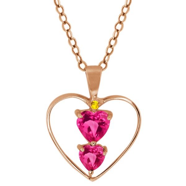 0.91 Ct Heart Shape Pink Mystic Topaz Rose Gold Plated Sterling Silver Pendant