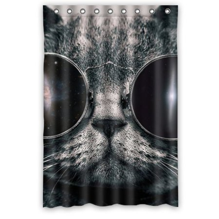 GreenDecor Space Cat Style Waterproof Shower Curtain Set With Hooks Bathroom Accessories Size 48x72 Inches