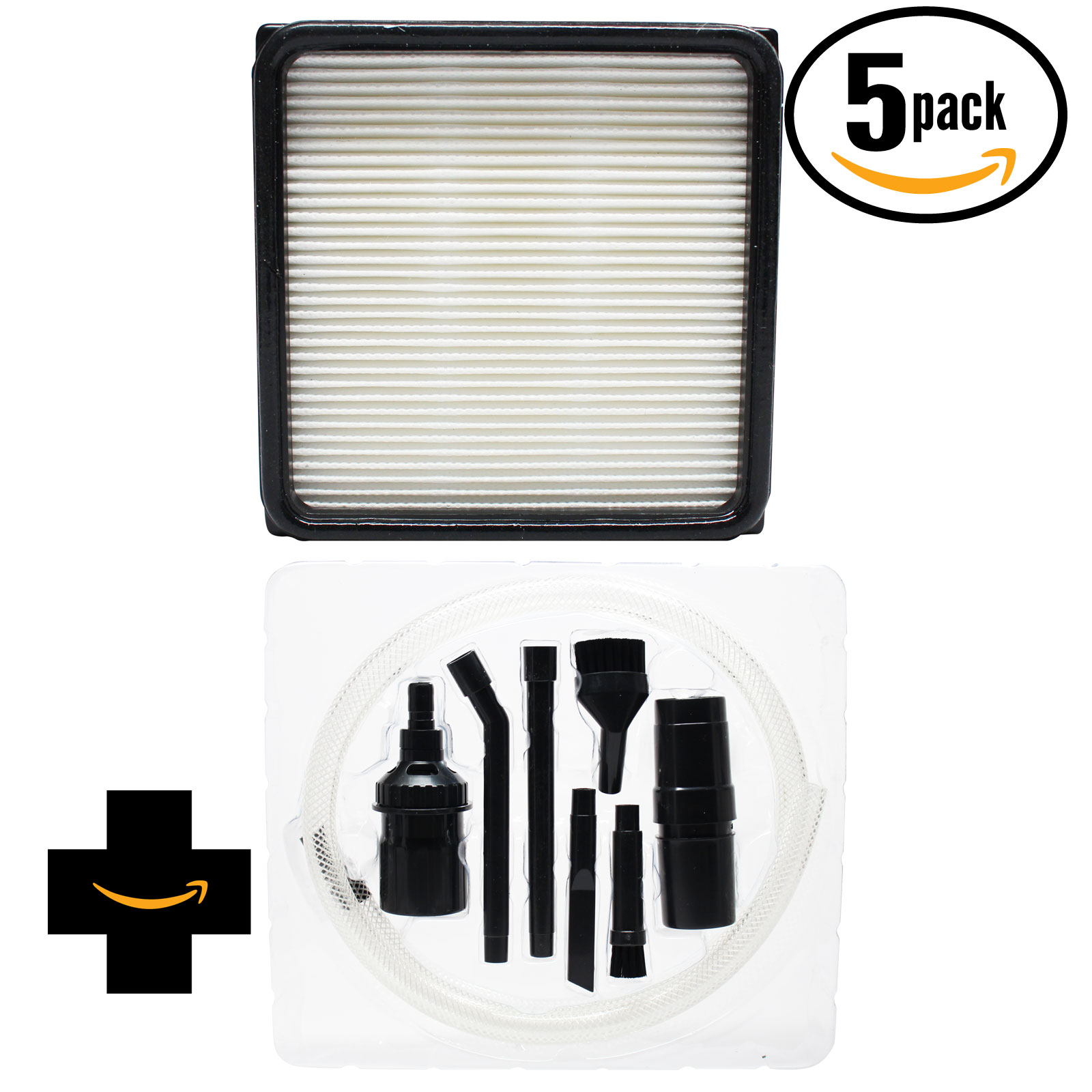 5-Pack Replacement Dirt Devil Featherlite Bagless Upright UD70100 Vacuum HEPA Filter and Foam Filter Insert with 7-Piece Kit - Compatible Dirt Devil 304708001, F59, F66 HEPA and Foam Filter Insert