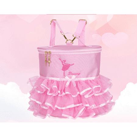 Ballerina Bag (Girls Ballet Dancing Bag Pink Princess Lovely Ballet Girls Ballerina Embroidered Backpack Tiered Ruffled Mesh Bag Backpack with Metal)