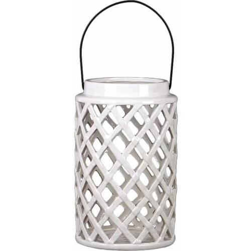 Urban Trends Ceramic Round Lantern with Diagonal Design