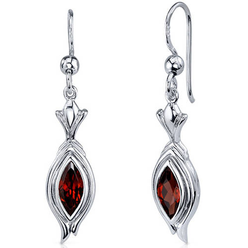 Oravo 1.50 Carat T.G.W. Marquise-Cut Garnet Rhodium over Sterling Silver Fishhook Earrings