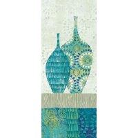 Blue Spice Stripe Panel I Canvas Art - Wild Apple Portfolio (10 x 20)