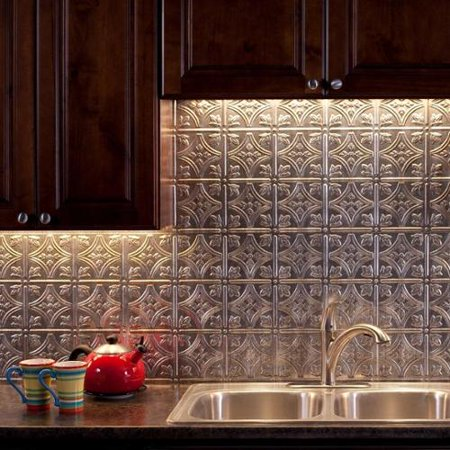 Fasade Traditional Style 1 Crosshatch Silver 18 Square Foot Backsplash Kit