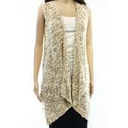 Olivia Sky NEW Beige Women's Size Large L Vest Cardigan knit Sweater