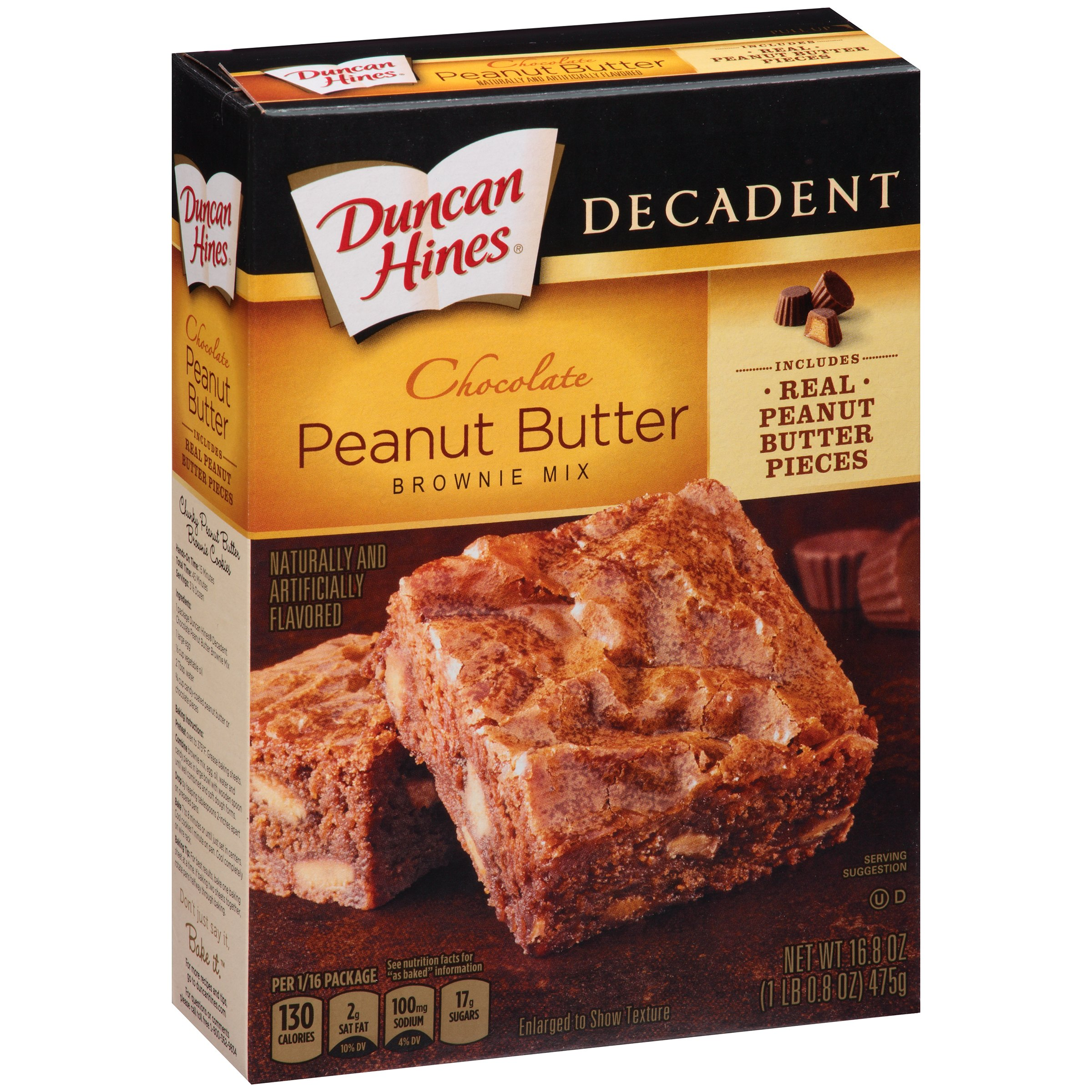 Duncan Hines® Decadent Chocolate Peanut Butter Brownie Mix 16.8 oz. Box