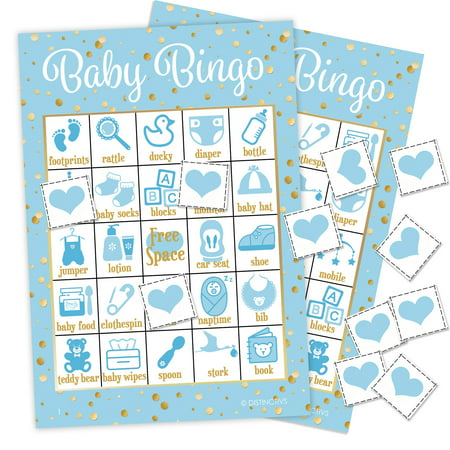 Boy Baby Shower Bingo Game, 24 Players - Blue and Gold Boy Baby Shower Game Cards - 24 Bingo Cards with Chips (Boys Shower)