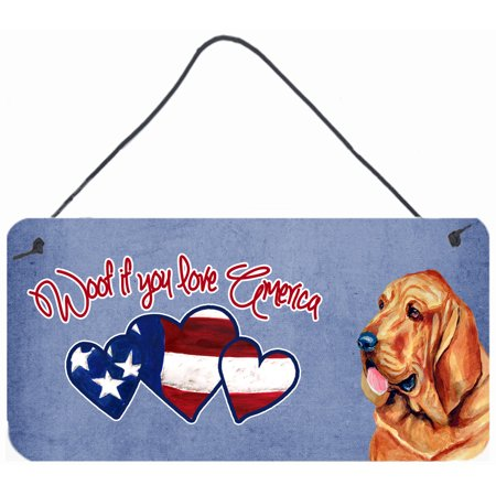 Woof if you love America Bloodhound Wall or Door Hanging Prints LH9528DS612