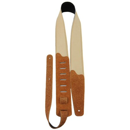 Perri's Soft Garment Leather Padded Embossed Floral Pattern Guitar Strap Light Tan 2.5 -