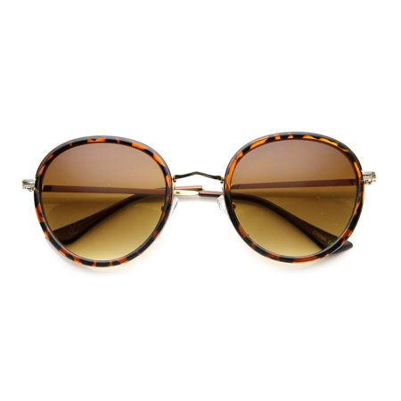Full Metal Jacket Round Nose (Vintage Inspired Unique Full Side Cover Rim Metal Temple Round Sunglasses 9786 )