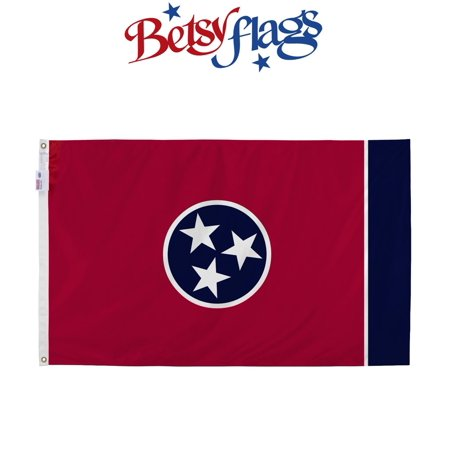Betsy Flags, Tennessee State Flag, Nylon, 3'x5', Canvas Header, Heavy-Duty Brass Grommets, Products by Valley Forge Flag Nylon Louisiana State Flag