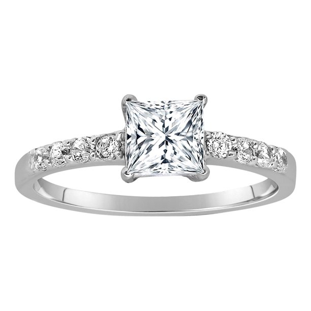 1.50 Carat Princess cut Diamond Ring Man made diamond moissanite Engagement Ring Sterling Silver with 18k Gold Plating