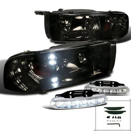 Spec-D Tuning 1994-2001 Dodge Ram Led Smoke Headlights Corner + Bumper Fog Lamps (Left + Right) 94 95 96 97 98 99 00 01